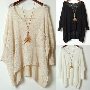 Simple Round Neck Sweater Loose Bat Perspective-333 A 082201