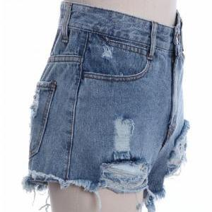 Blue High Rise Denim Shorts Featuri..
