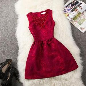 Jacquard Lace Beads Slim Dress MOa