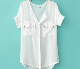 Simple neutral sleeve loose chiffon shirt 070518