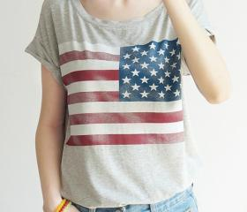 American flag printed short-sleeved