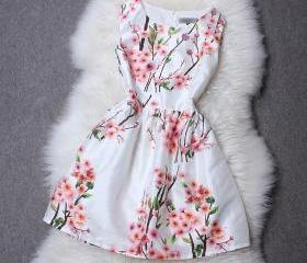 Peach Printed Neck Sleeveless Dress MXd