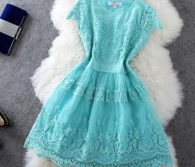 Embroidered organza lace short-sleeved dress JFj