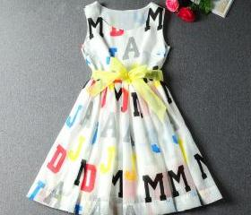 Fashion letters silk dress DX619001