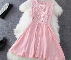 Fashion Bow Lace Dress XXA621001