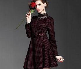 Fashion checkered high collar bodycon dress 1552630