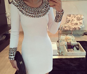 Fashion beaded white bodycon dress 1506365