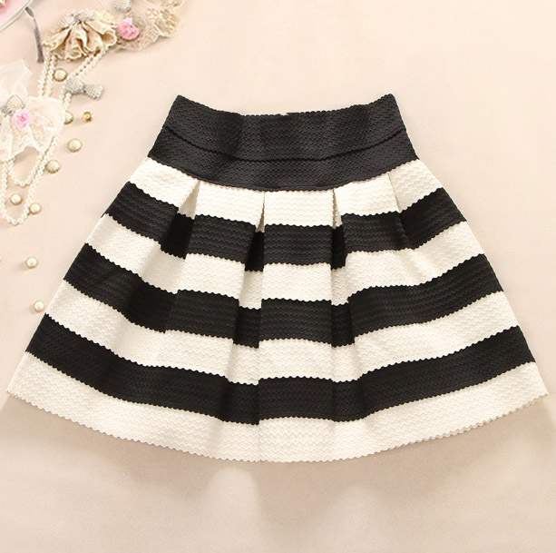 Black And White Striped Waist Tutu Skirt A 091205 on Luulla