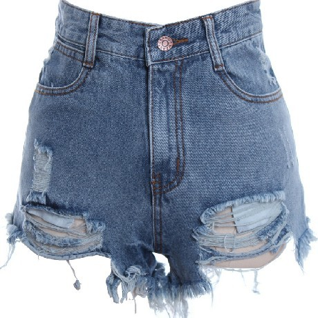 Blue High Rise Denim Shorts Featuring Distressed Detailing