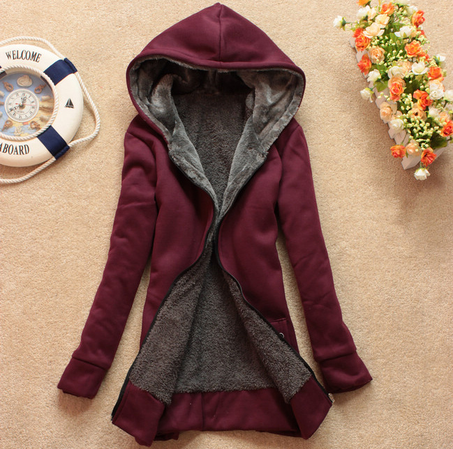 Plus Velvet Long-Sleeved Hooded Sweater Coat Loose JCHCB on Luulla