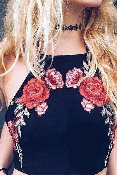 Fashion Sexy Flower Embroidery Print Halter Vest Tank Top Cami OM170689