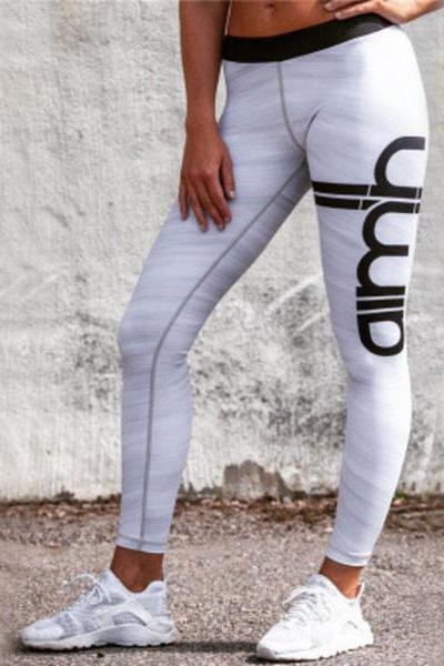 Fashion Women Letter Print Sport Yoga Stretch Tight Pants Trousers Sweatpants OM161148