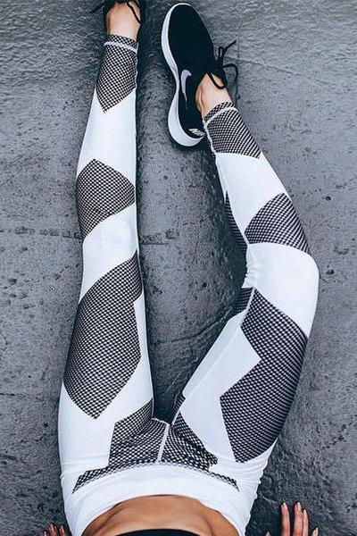 Sexy Women Geometric Print Yoga Sports Pants Trousers Sweatpants OM161132