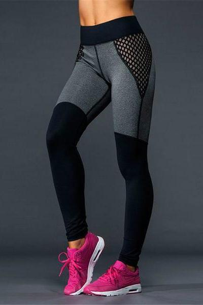 Sexy Women Gauze Tight Sport Yoga Stretch Pants Trousers Sweatpants OM161149