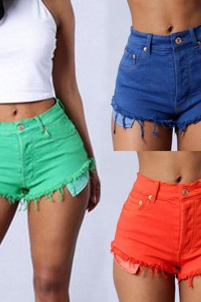 Sexy Fashion Solid Color Distressed High Waist Denim Shorts OM164104