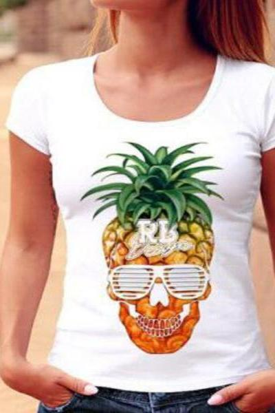 Edgy Sexy Fashion Pineapple Print Short Sleeve Shirt Top Tee OM164067