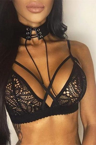 Women Sexy Solid Color Lace Hollow Crisscross Underwear Lingerie Bra ZZ00067
