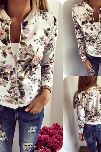 Fashion Flower Pattern Long Sleeve Coat Cardigan Jacket QL95216
