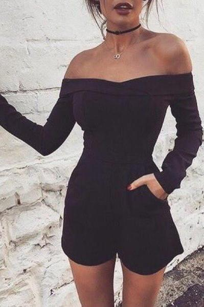 Sexy Long Sleeve boat neck Off Shoulder Top Sweater Jumpsuit Bodysuit ZA66314