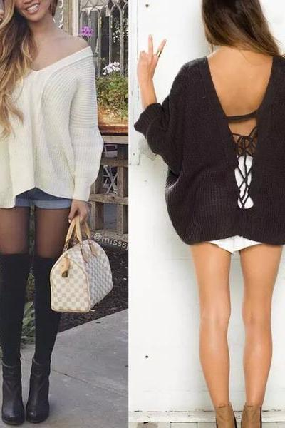 Sexy Fashion Loose Crochet Backless Strappy V-Neck Knit Sweater Top Pullover Knitwear MN00005