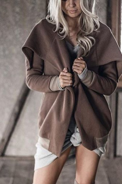 Fashion Retro Solid Color Irregular Long Sleeve Lapel Coat Cardigan Knitwear Windbreaker PQ68433