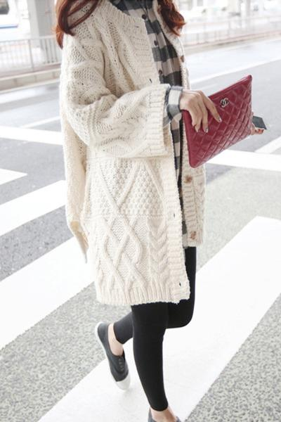 Fashion Crochet Buttons Loose Long Cardigan Open-front Sweater Cardigan Coat Outwear LK98711