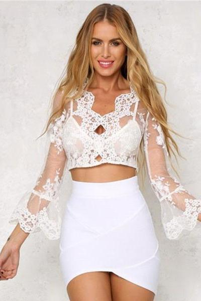 Women Sexy Embroidery Lace Leaky belly button Long Sleeve Smock Top Blouse LK98721