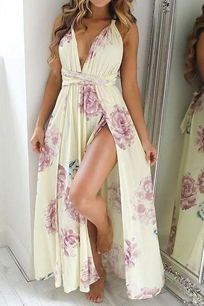 V-Neck Sexy Off Shoulder Split Maxi Dress AP65297