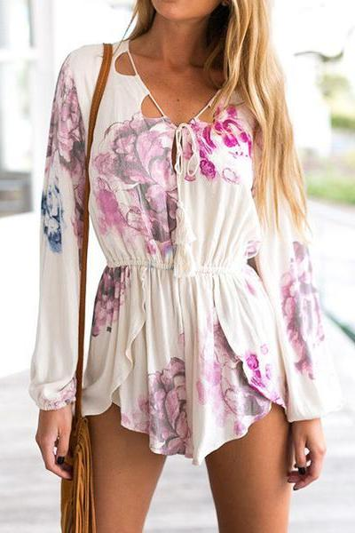 Print Sexy V-Neck Strappy Romper Jumpsuit XN21973