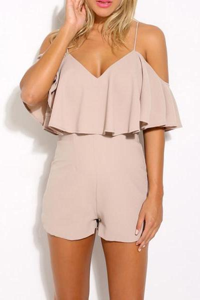 Plunge V Cold Shoulder Ruffle Double Layered Romper