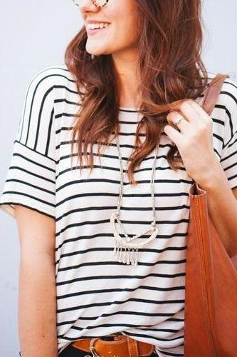 Fashion Stripe Short Sleeve Shirt Top Tee Blouse OM166020