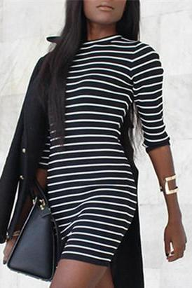 Fashion Striped Long Sleeve Tight Dress OM160884