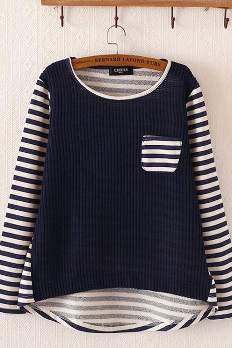 Fashion striped knit pullovers 716058