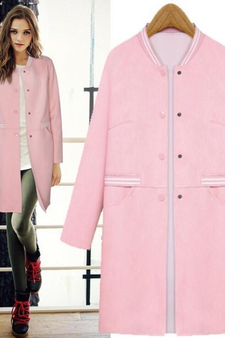 Cute pink single-breasted coat 7215069