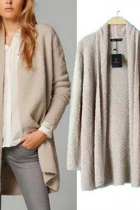 Fashion solid color knit cardigan coat 4962158