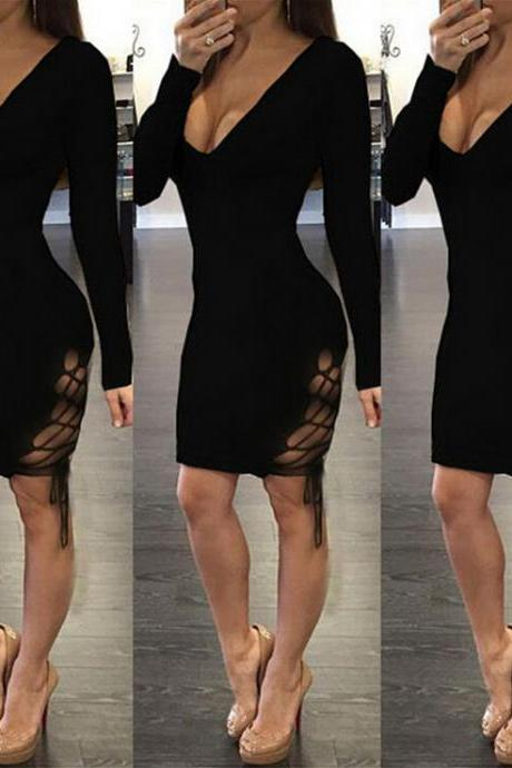 Sexy V-neck reticular dress 6544872