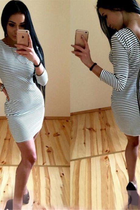 Fashion zebra stripe zipper dress 5816028