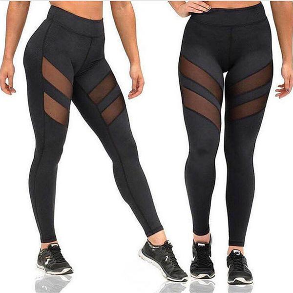 Sexy Women Mesh Hollow Out Yoga Sports Pants Trousers Sweatpants OM161131