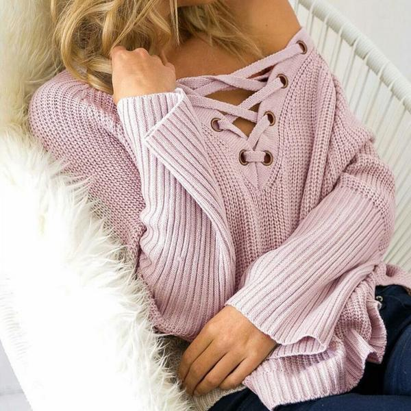 Fashion Loose Bandage Lace up V Neck High Low Knit Sweater Pullover Top MN00004