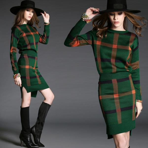 Fashion checkered bodycon long-sleeved dress 6801574